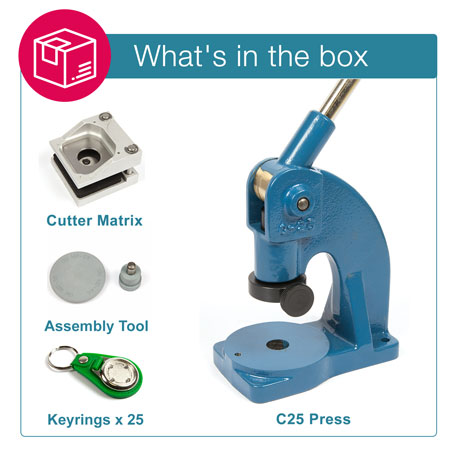 MD25-GREEN STARTER PACK. Includes Machine, Cutter, Assembly Tool and 25 FREE Keyrings