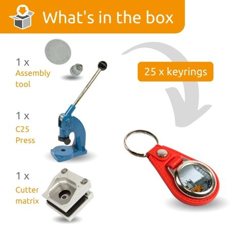 MD25-RED STARTER PACK. Includes Machine, Cutter, Assembly Tool and 25 FREE Keyrings