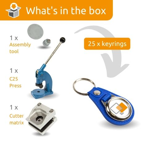 MD25-BLUE STARTER PACK. Includes Machine, Cutter, Assembly Tool and 25 FREE Keyrings