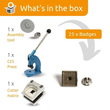 PIN-10 STARTER PACK. Includes Machine, Cutter, Assembly Tool and 25 FREE Badges