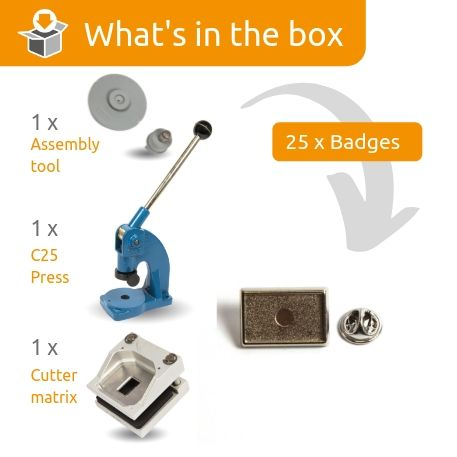 PIN-15 STARTER PACK. Includes Machine, Cutter, Assembly Tool and 25 FREE Silver Badges