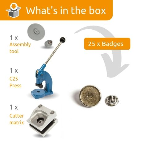PIN-17 STARTER PACK. Includes Machine, Cutter, Assembly Tool and 25 FREE Badges
