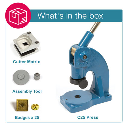 PIN-10G STARTER PACK. Includes Machine, Cutter, Assembly Tool and 25 FREE Badges