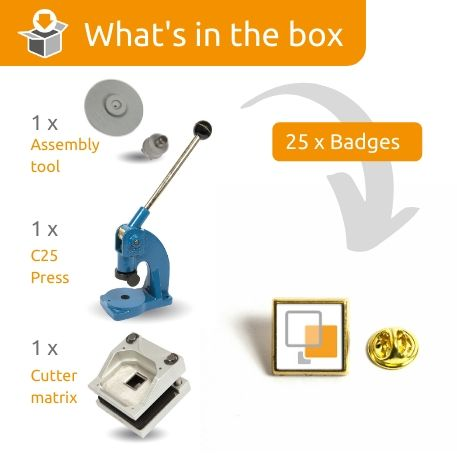PIN-10G STARTER PACK. Includes Machine, Cutter, Assembly Tool and 25 FREE Badges Thumbnail