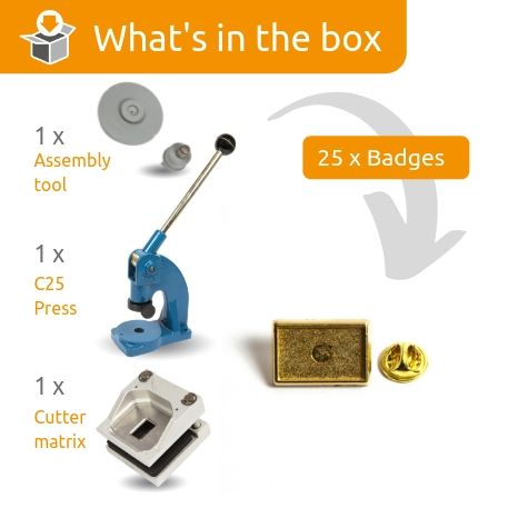 PIN-15G STARTER PACK. Includes Machine, Cutter, Assembly Tool and 25 FREE Gold Badges