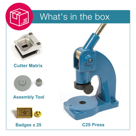 PIN-15G STARTER PACK. Includes Machine, Cutter, Assembly Tool and 25 FREE Badges