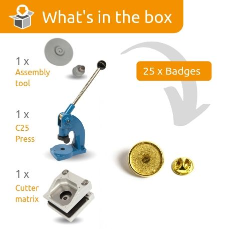 PIN-17G STARTER PACK. Includes Machine, Cutter, Assembly Tool and 25 FREE Badges