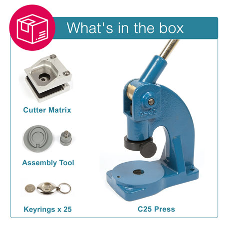MZ-25-COIN STARTER PACK. Includes Machine, Cutter, Assembly Tool and 25 FREE Keyrings