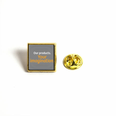 15mm Square Butterfly Pin Back Gold Metal Blank Badge (PIN-10G-BADGE)
