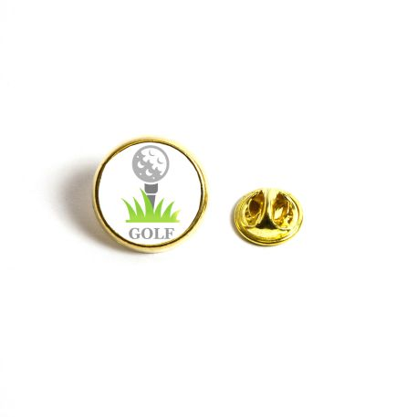 17mm Round Butterfly Pin Back Gold Metal Blank Badge (PIN-17G-BADGE)