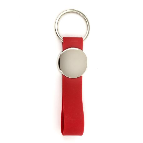 MR25 Blank Metal Photo Keyring With Silicone Loop Red-Insert Size 25mm Thumbnail