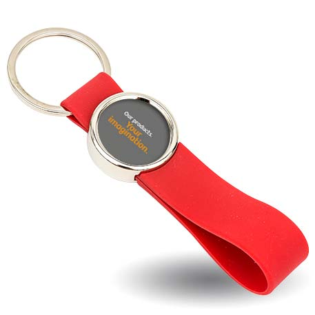 MR25 Blank Metal Photo Keyring With Silicone Loop Red-Insert Size 25mm