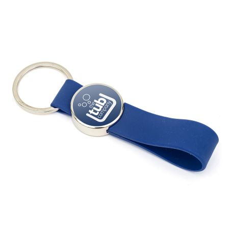 MR25 Blank Metal Photo Keyring With Silicone Loop Blue-Insert Size 25mm