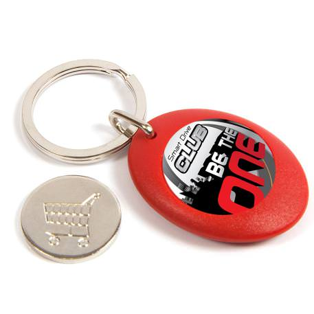CR-ZCOIN-RED Round Blank Plastic Photo Insert Keyring with Shopping Trolley Coin - 25mm