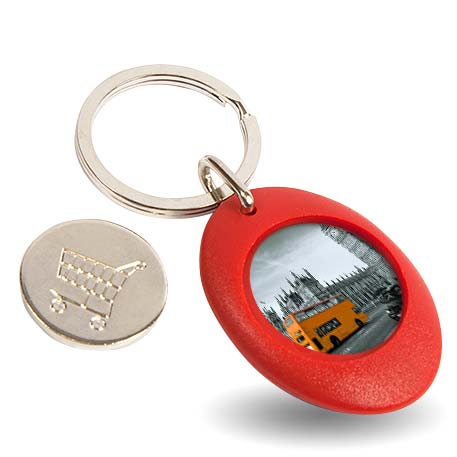 CR-ZCOIN-RED Round Blank Plastic Photo Insert Keyring with Shopping Trolley Coin - 25mm Thumbnail