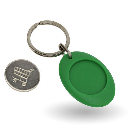 CR-ZCOIN-GREEN Round Blank Plastic Photo Insert Keyring with Shopping Trolley Coin - 25mm Thumbnail