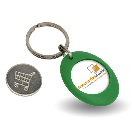 CR-ZCOIN-GREEN Round Blank Plastic Photo Insert Keyring with Shopping Trolley Coin - 25mm
