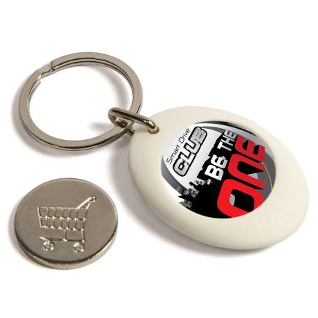 CR-ZCOIN-WHITE Round Blank Plastic Photo Insert Keyring with Shopping Trolley Coin - 25mm