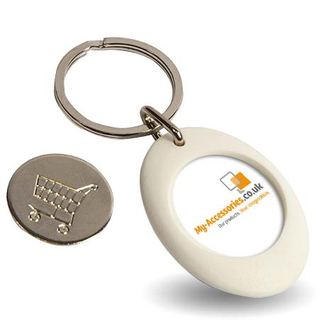 CR-ZCOIN-WHITE Round Blank Plastic Photo Insert Keyring with Shopping Trolley Coin - 25mm Thumbnail