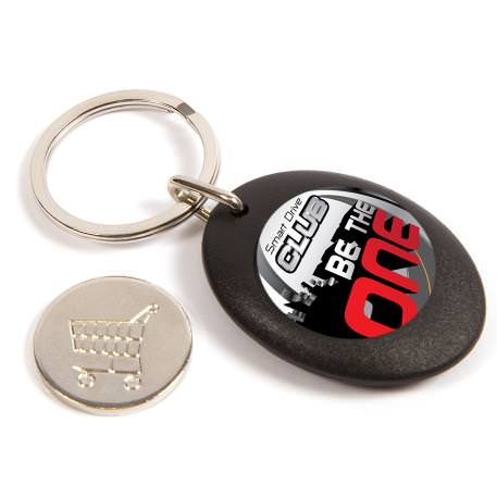 CR-ZCOIN-BLACK Round Blank Plastic Photo Insert Keyring with Shopping Trolley Coin - 25mm