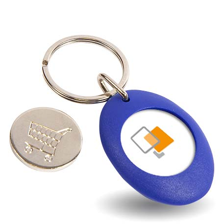 CR-ZCOIN-BLUE Round Blank Plastic Photo Insert Keyring with Shopping Trolley Coin - 25mm Thumbnail