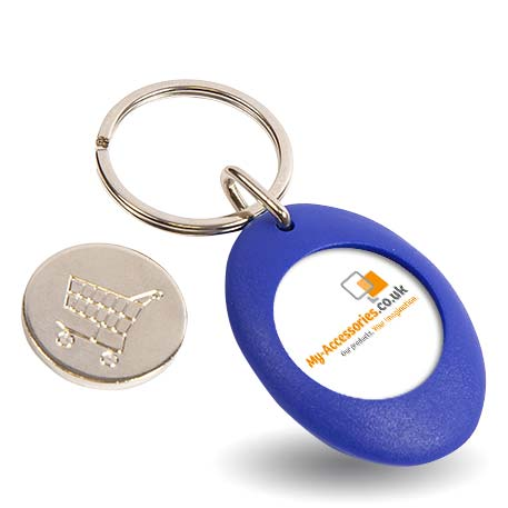 CR-ZCOIN-BLUE Round Blank Plastic Photo Insert Keyring with Shopping Trolley Coin - 25mm