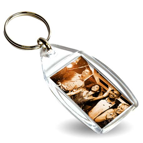 CF-40 Rectangular Blank Plastic Photo Insert Keyring - 40 x 25mm