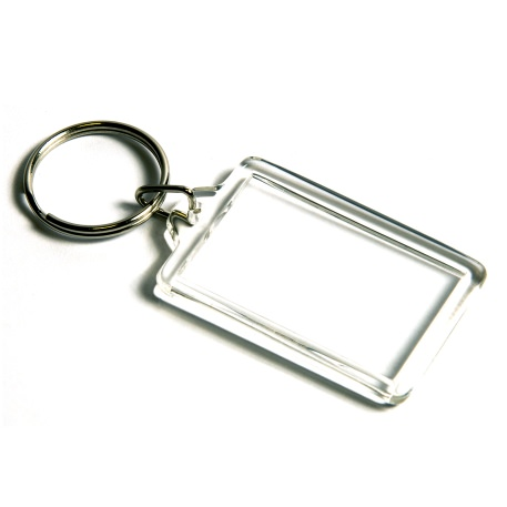 CK-40 Rectangular Blank Plastic Photo Insert Keyring - 40 x 25mm