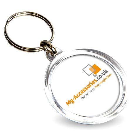 CR-37 Round Blank Plastic Photo Insert Keyring - 37mm