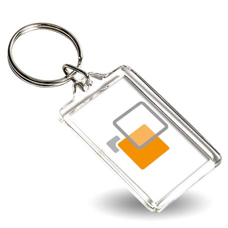 CR-40 Rectangular Blank Plastic Photo Insert Keyring - 40 x 25mm