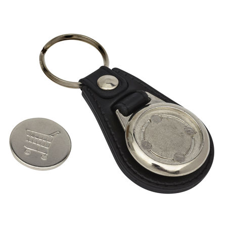 Round Blank Medallion PU Leather Photo Insert Trolley Coin Keyring-25mm