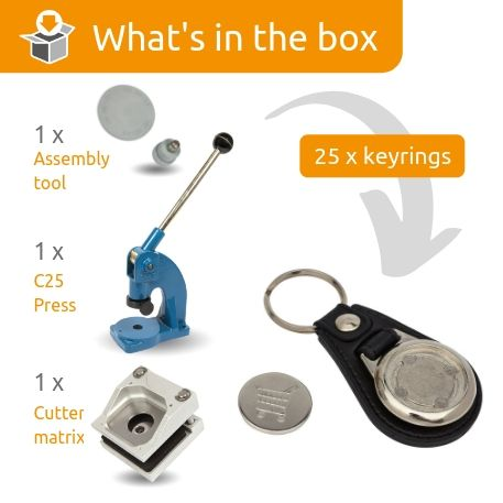 MD25-COIN-KEYRING STARTER PACK. Includes Machine, Cutter, Assembly Tool and 25 FREE Keyrings