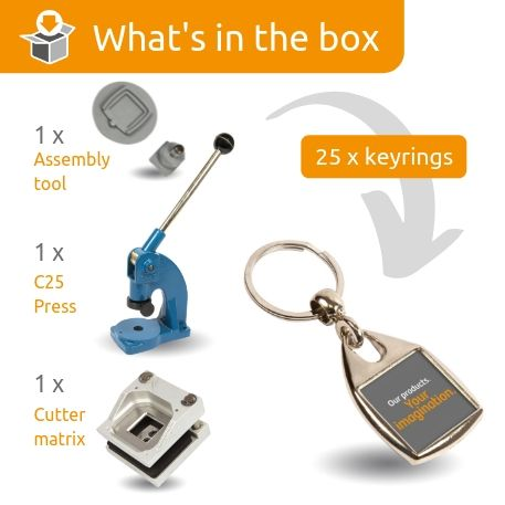 MF-25 STARTER PACK. Includes Machine, Cutter, Assembly Tool and 25 FREE Keyrings