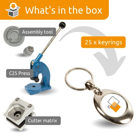 MP-25D STARTER PACK. Includes Machine, Cutter, Assembly Tool and 25 FREE Keyrings