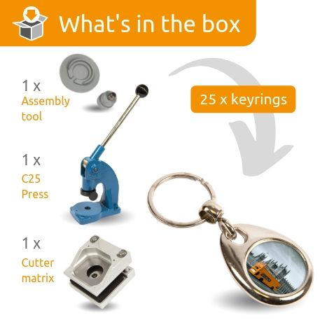 MH-25 STARTER PACK. Includes Machine, Cutter, Assembly Tool and 25 FREE Keyrings