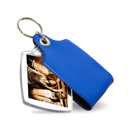 S2 Rectangular Blank Plastic Photo Insert Keyring with Blue Cover- 40 x 32mm