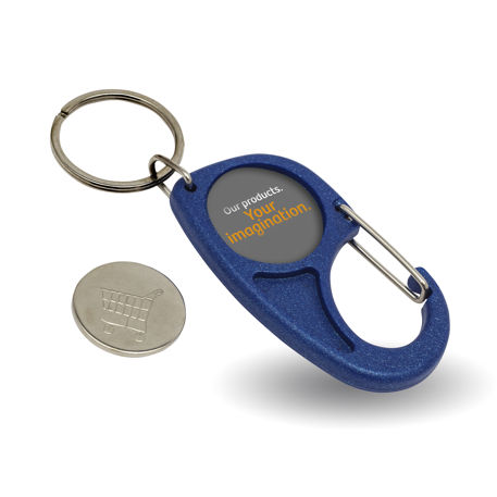 Blank Plastic 25mm Insert Carabiner Trolley Coin Keyring Blue