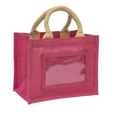 Mini Jute Bag Pink Insert 152 x 102mm (6 x 4 inch) Thumbnail