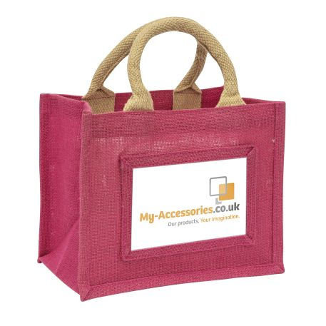 Mini Jute Bag Pink Insert 152 x 102mm (6 x 4 inch)