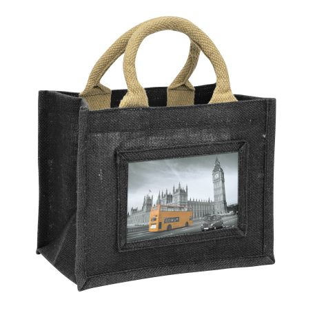 Mini Jute Bag Black Insert 152 x 102mm (6 x 4 inch)
