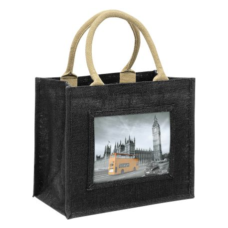 Medium Jute Bag Black Insert 203 x 152mm (6 x 8 inch) Thumbnail