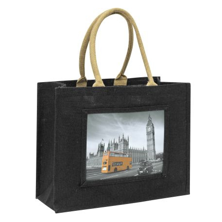 Large Jute Bag Black Insert 254 x 203mm (10 x 8 inch)
