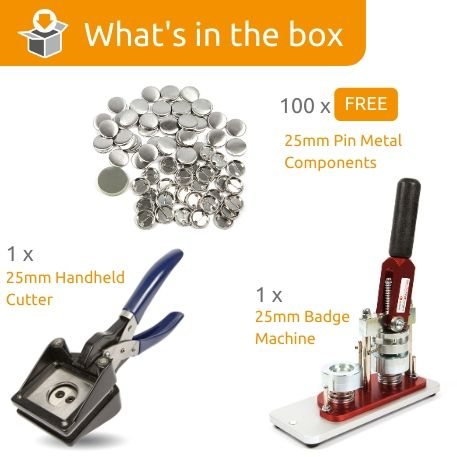 G Series 25mm Pin Back Starter Pack- Includes Machine, Handheld Cutter and 100 FREE components
