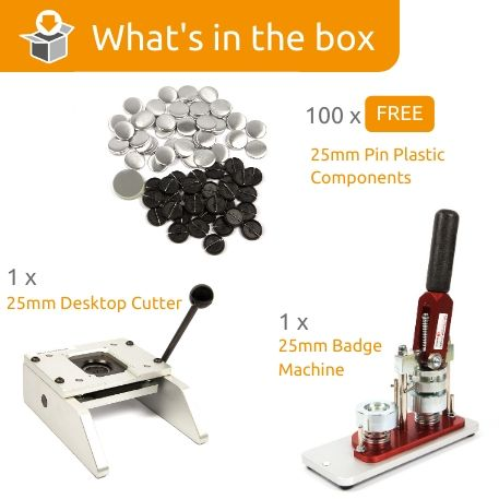 G Series 25mm Pin Back Starter Pack- Includes Machine, Desktop Cutter and 100 FREE components