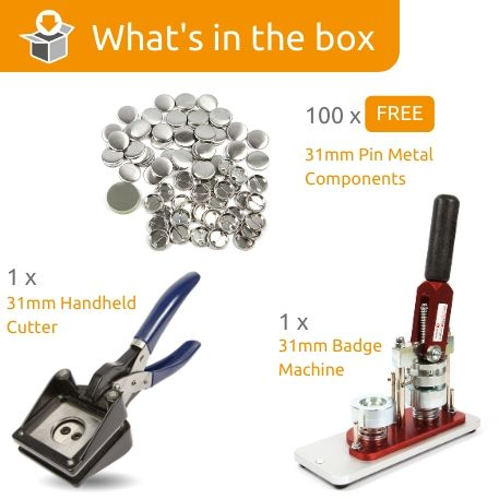 G Series 31mm Pin Back Starter Pack- Includes Machine, Handheld Cutter and 100 FREE components