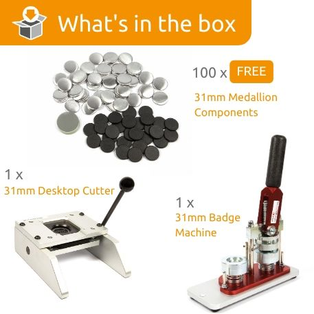 G Series 31mm Medallion Starter Pack- Includes Machine, Desktop Cutter and 100 FREE components