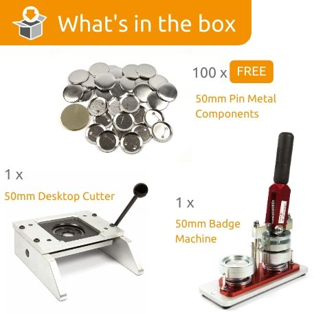 G Series 50mm Pin Back Starter Pack- Includes Machine, Desktop Cutter and 100 FREE components