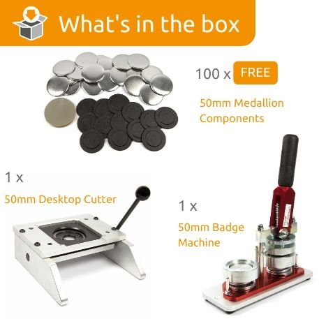 G Series 50mm Medallion Starter Pack- Includes Machine, Desktop Cutter and 100 FREE components