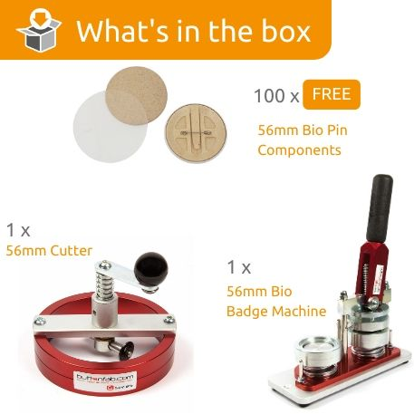 G Series 56mm Bio Pin Back Starter Pack- Includes Machine, Cutter and 100 FREE components