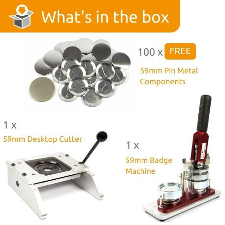 G Series 59mm Pin Back Starter Pack- Includes Machine, Desktop Cutter and 100 FREE components